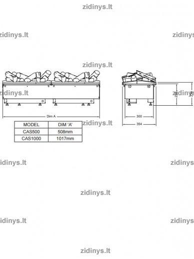 Elektrinio židinio kasetė DIMPLEX Opti-myst 1000 su malkų imitacija 2