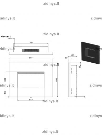Elektrinio židinio kasetė DIMPLEX Opti-myst Nissum L 2