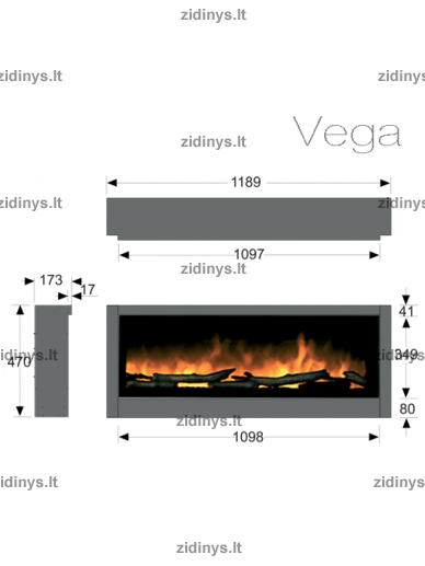 Elektrinio židinio kasetė DIMPLEX Vega LED 5